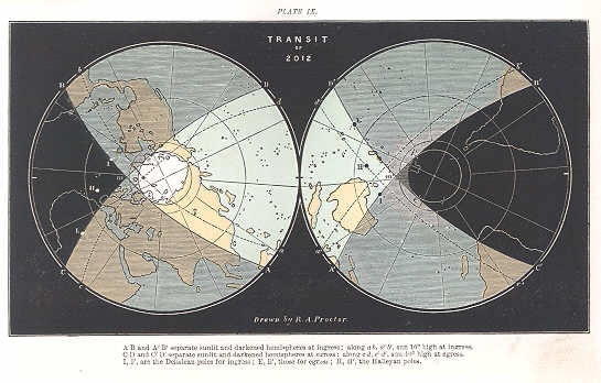 World visibility map of 2012 transit of Venus; from A Popular Account of